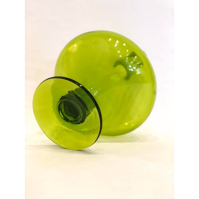 Vintage Footed Green Glass Vase Chairish