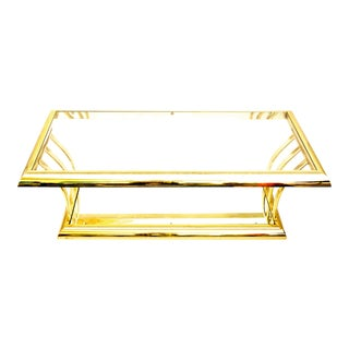 Gorgeous Postmodern Chic d.i.a. Brass Two-Tier Coffee Tables | Mirror & Glass Surfaces For Sale
