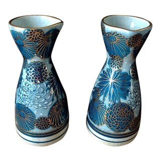 Blue + Gold Sake Carafes - a Pair For Sale
