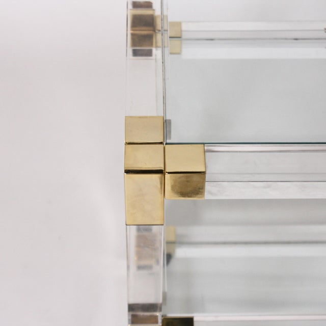 1970s French Lucite, Glass & Brass 3 Tier Table C. 1970 For Sale - Image 5 of 6