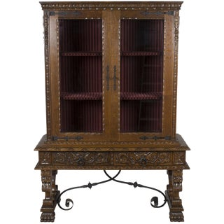 1940s French Renaissance Style Carved Oak Breakfront Cabinet For Sale