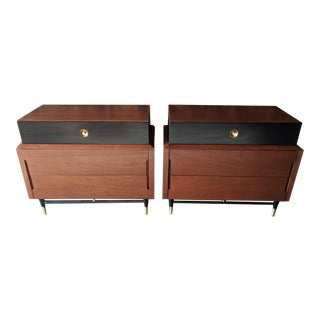 Pair of Walnut, Brass and Lacquer Hollywood Regency Compact Dressers, by Basic Wiltz