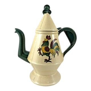 Vintage Metlox Folk Art Pottery/Dishes Farm Poppytrail Green Rooster Coffee Pot For Sale