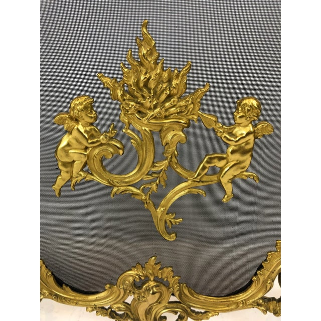 French Bronze Dore Fireplace Screen With Putti, 1950s For Sale - Image 3 of 11