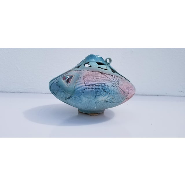 Blue Vintage Art Patch Clay Pottery Vase For Sale - Image 8 of 11