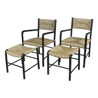 1930s Italian Lacquered Birch Chairs and Ottomans- 4 Pieces For Sale