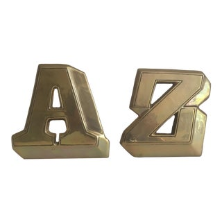 "Mid-Century Modern Solid Brass ""A & Z"" Bookends - a Pair"