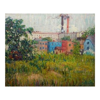 """Impressionism Oil Landscape Painting """"View of Factories"""" by Annie Lovering Perot For Sale"""