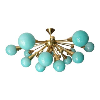 Half Sputnik Turquoise Blue Murano Glass Globes Chandelier For Sale