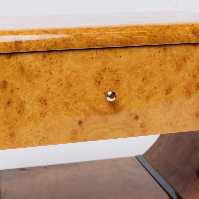 Burl Wood 70's Deco Inspired Nightstands -Pair For Sale - Image 7 of 7