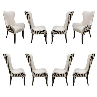 Set of Eight Zebra Stenciled Cowhide Dining Chairs For Sale