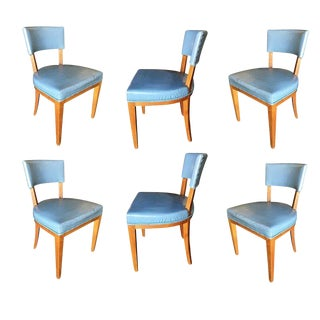 Mid-Century Modern Oak Dining Chairs, Set of Six For Sale