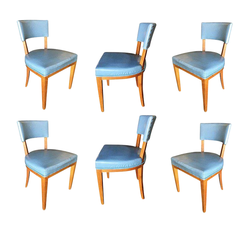 Mid Century Modern Oak Dining Chairs, Set Of Six For Sale