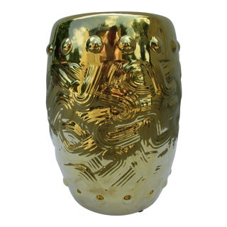Modern Gilded Garden Stool or Drum Stool For Sale
