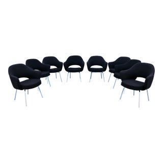 Mid-Century Modern 1950s Knoll Eero Saarinen Vintage Executive Arm Chairs -Set of 8 For Sale