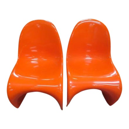 Vintage Vitra for Herman Miller Mid-Century Modern Orange Verner Panton S Chairs - a Pair For Sale