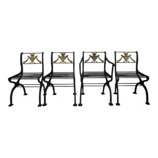 W.A. Snow Boston 1925 Garland Iron Garden Chairs - Set of 4 For Sale