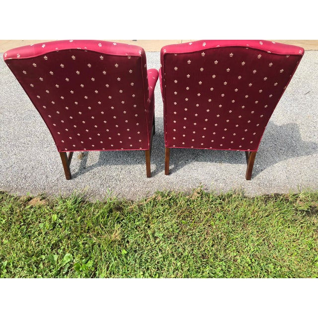 Mahogany Burgundy Chippendale Wingback Chairs - A Pair For Sale - Image 7 of 8