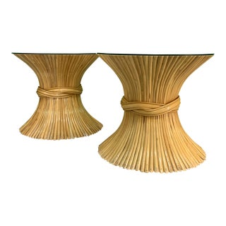 McGuire Sheaf of Wheat End Tables - a Pair For Sale