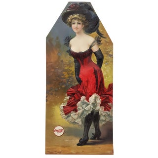 Embossed Pressed Paper Fashionable Woman W/ Elaborate Hat & Coca Cola Decal For Sale