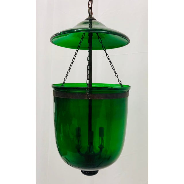 Metal Traditional Green Glass Bell Jar Pendant For Sale - Image 7 of 13