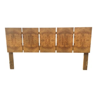 1970s Mid Century Modern Lane Furniture Olive Burl Wood King Size Headboard For Sale