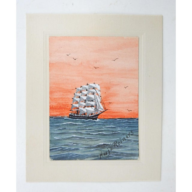 """Miniature watercolor on paper of a sailing ship at sunset by Hajo Reiners (20th Century) Texas. Painting is 2.25' x 3.25""""..."""