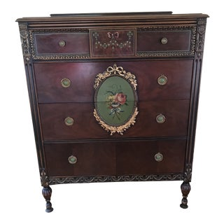 20th Century French Louis XVI Style Hand Painted Chest of Drawers For Sale