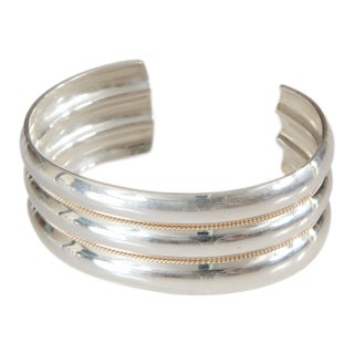 Tiffany Sterling and 14k Wide Cuff Bracelet For Sale