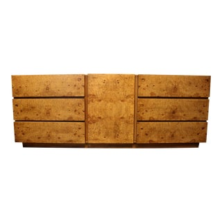 Milo Baughman Style Mid Century Modern Burl Wood Dresser for Lane Furniture