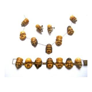 1940s Artisan Seven Gods of Japan Necklace, Bracelet, & Earrings For Sale