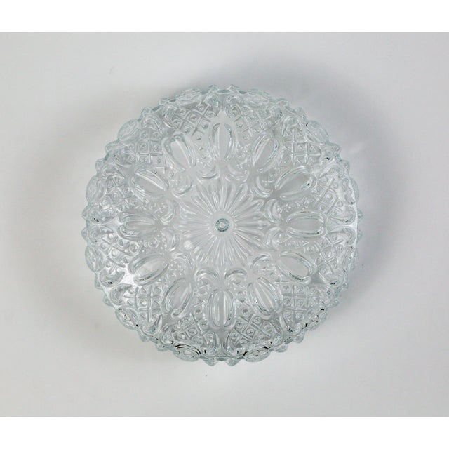 Mid Century Vintage Floral Hatch Limburg Glass Flush Mount (2 Available) For Sale - Image 10 of 10