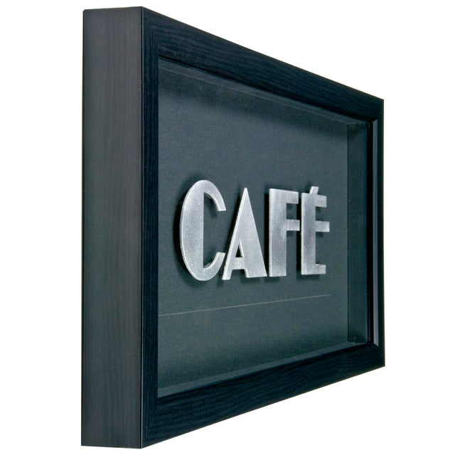 "Framed Vintage French Aluminum ""CAFE"" Letters - Image 2 of 2"