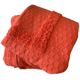 Cotton Chenille Coverlet in Persimmon For Sale