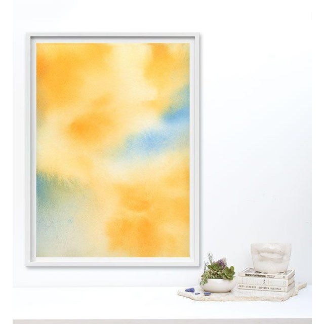 A pure wash of golden yellows, cyan, and baby blue create a luxurious field of color. Printed on Archival 100% Cotton...