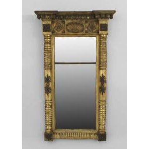 American Empire gilt wood and ebonized trimmed pier mirror For Sale