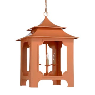 Orange Lacquered Iron Pagoda Lantern For Sale