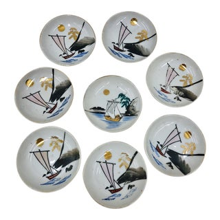 Vintage Hand Painted Serving Bowl Set For Sale