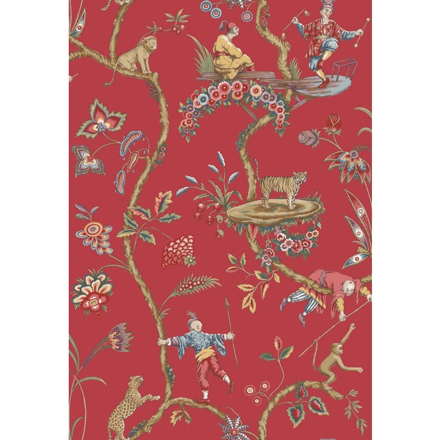 Transitional Red by Scalamandre Peel & Stick Wallpaper, Chinoise Exotique, Tomato For Sale - Image 3 of 3