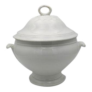 Antique French White Soup Tureen For Sale