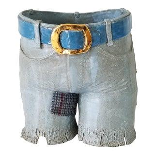 1980s Female Pants Shape Art Pottery Sculpture For Sale
