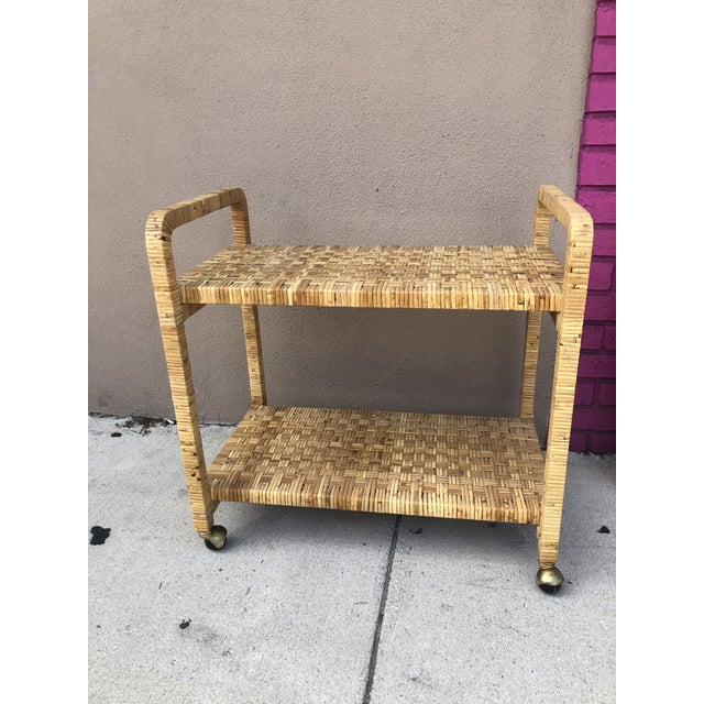 Yellow Vintage Rattan Two Shelves Rolling Drinks Cart For Sale - Image 8 of 8