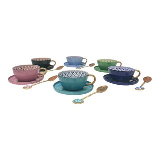 Vintage Enamel Demitasse Tea Service & Spoons - Set of 18 For Sale
