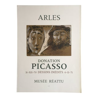 """1971 """"Arles Donation Picasso"""" Musee Reattu Wove Paper Mourlot Exhibition Poster For Sale"""