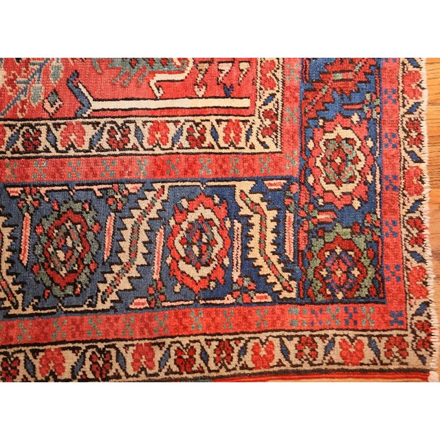 1920s Antique Heriz Persian Rusty Red Background Rug - 9′7″ × 11′7″ For Sale - Image 5 of 11
