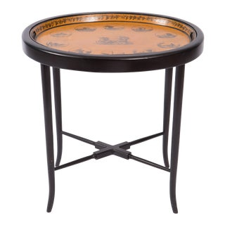 19th Century English Tole Tray Table on Custom Made Black Painted Base For Sale