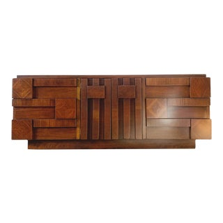 Mid Century Brutalist Dresser by Lane For Sale