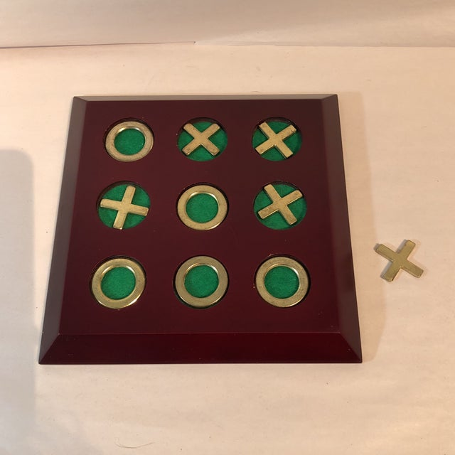 Vintage Cherry Wood & Brass Tic Tac Toe Set - Image 11 of 11