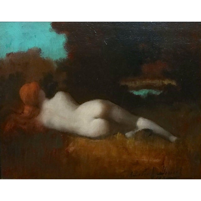 After Jean-Jacques Henner- Study of a Nude Nymph -19th century oil painting oil on board -Signed and dated 1900 frame size...