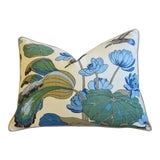 "Image of G P & J Baker Nympheus Floral Linen Feather/Down Pillow 26"" X 20"" For Sale"